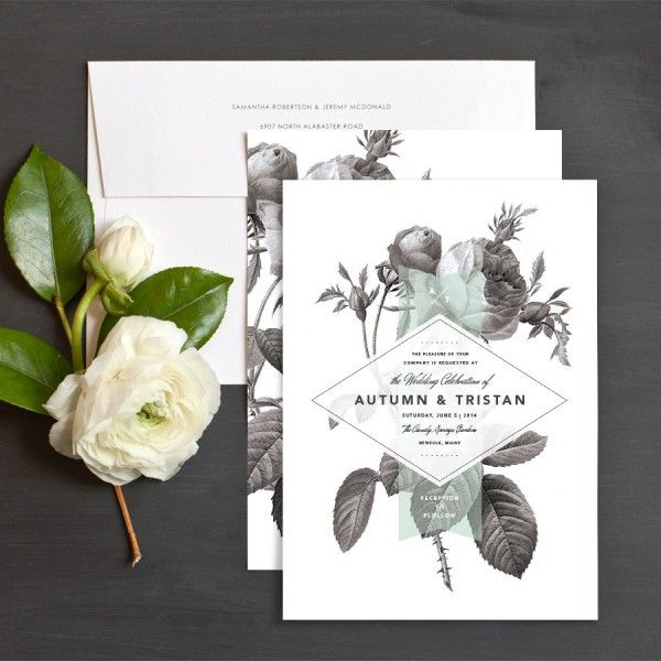 Painterly Florals wedding invitation by Rachel Marvin Creative at elli.com