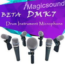 7-pièce Tambour Microphone Kit DMK7!! Top Qualité BETADMK7 Tambour Instrument Mic 2 Pcs 57A + 1 Pcs Coup 52A + 4 Pcs 56A + Transport cas(China (Mainland))