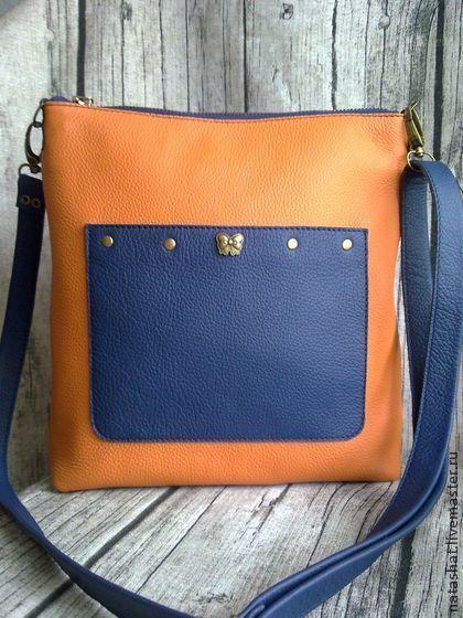 сумочка Оранжевая - оранжевый,синий,сумка на плечо,сумка женская,сумка из кожи