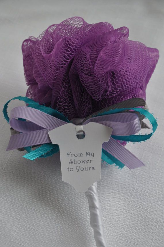 lavender gray and teal bath puff baby rattle unique baby shower favor