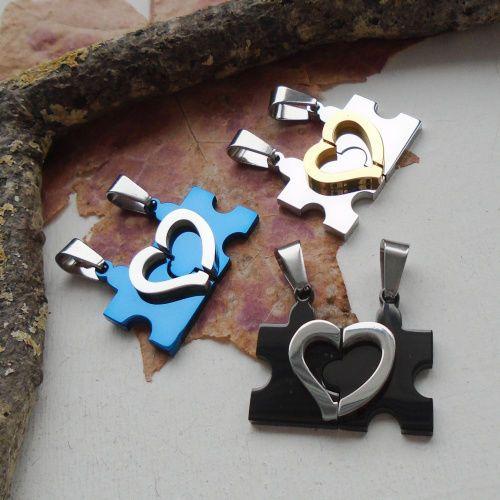 2 teiliges Partner Amulett, 'Puzzle Herz' silber, schwarz, blau, gold, Anhänger in Uhren & Schmuck, Modeschmuck, Halsketten & Anhänger | eBay!
