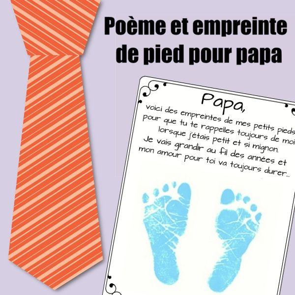Po me et empreinte de pied pour papa une activit pour - Poeme fete des papa a imprimer ...