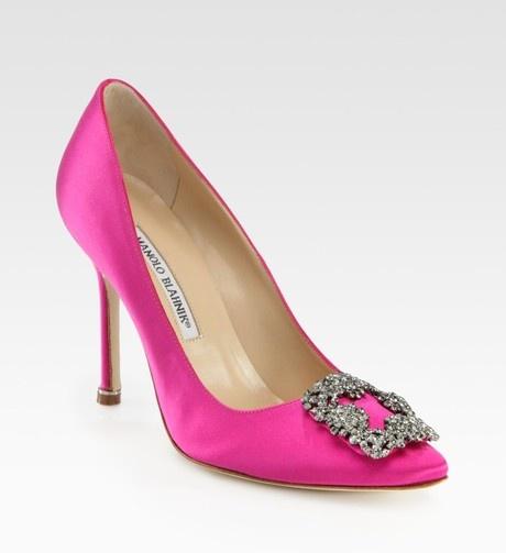 Pink Hangisi Jewel Satin Pumps  Manolo Blahnik