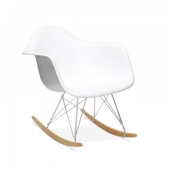 Charles Eames Eames Style Weißer RAR Schaukelstuhl