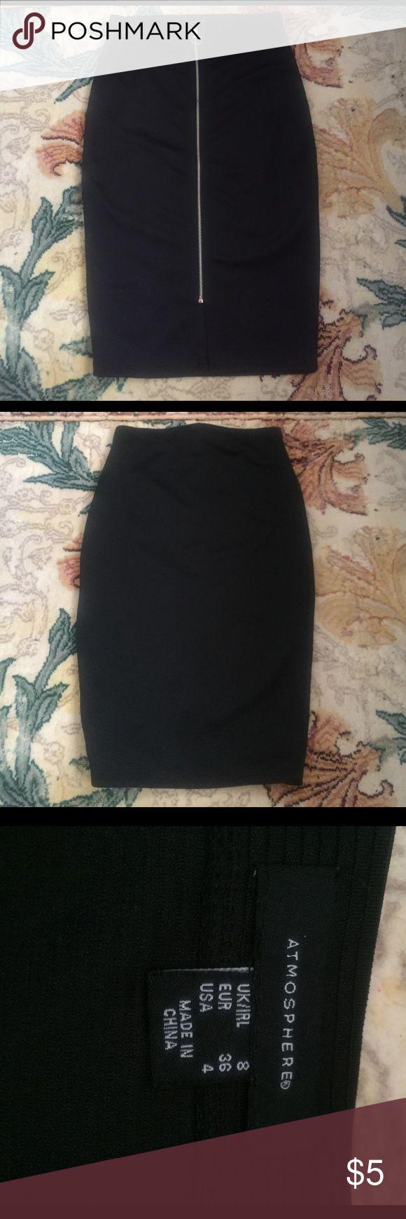 Black Pencil Skirt Black pencil skirt with silver zipper Primark Skirts Pencil