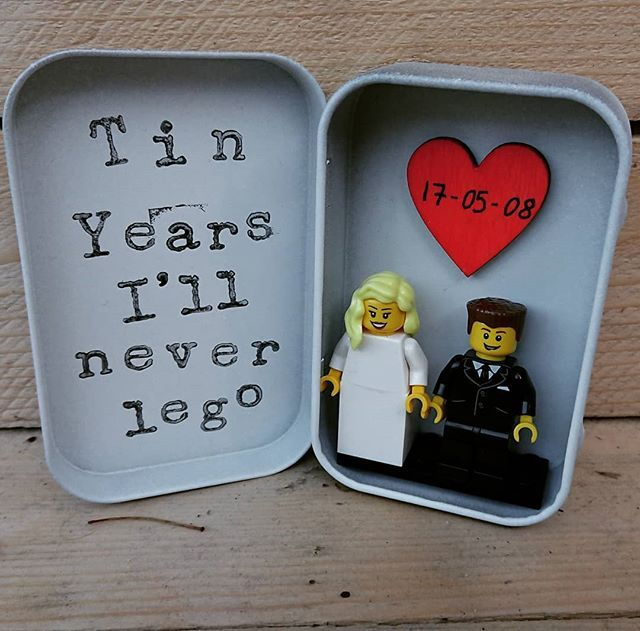 Wedding Anniversary Gifts Year By Year: LEGO® Wedding Tin Design, Tin Years, I'll Never Lego, 10