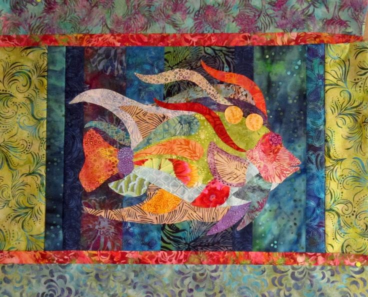 Caribbean Angel Fish raw edge applique and pieced wall quilt pattern by DebraHarryArtQuilts on Etsy https://www.etsy.com/listing/192890458/caribbean-angel-fish-raw-edge-applique