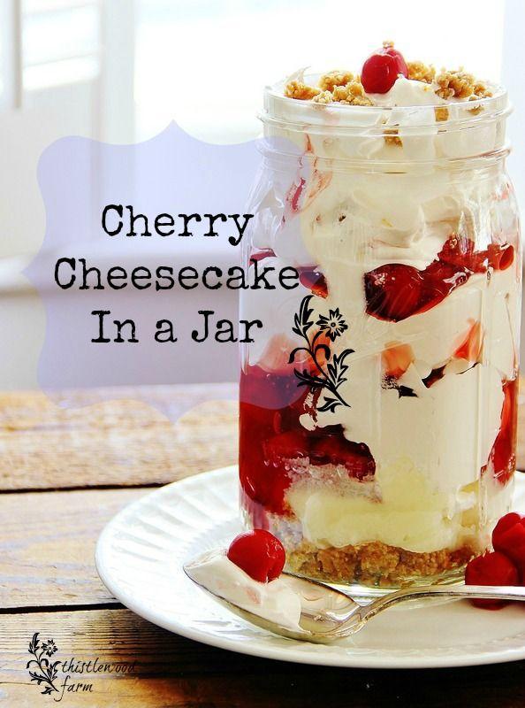 Cherry cheesecake in a jar.
