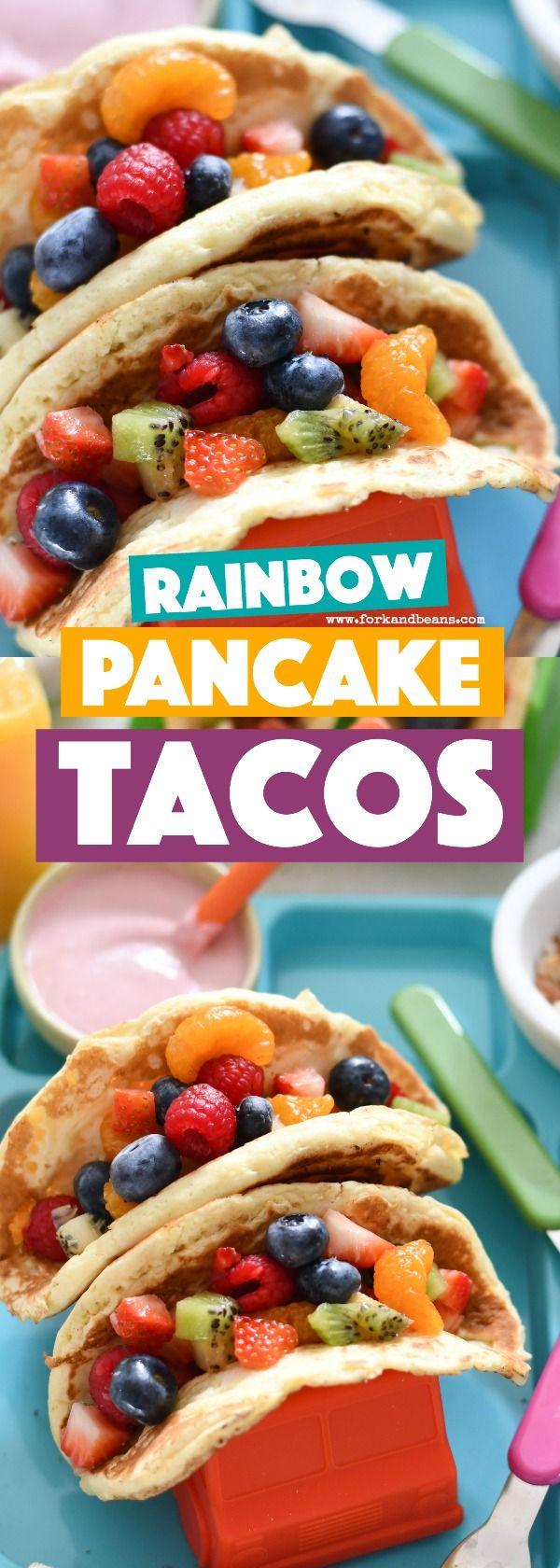With a rainbow fruit salad, yogurt drizzle, and sprinkle of chopped nuts, Rainbow Pancake Tacos make for a fun new breakfast idea! #kidfood #funfood #breakfastforkids #rainbowfood