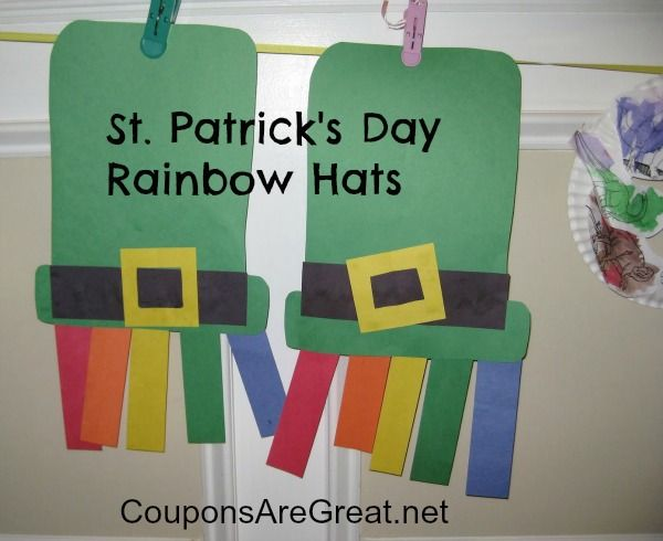 2 St. Patrick's Day Crafts for Kids - Rainbow hats and rainbows with clouds. Perfect for preschoolers through elementary aged kids.