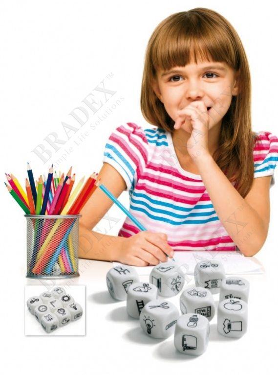 Игра настольная «КУБИКИ ИСТОРИЙ» АРТИКУЛ: DE 0140 Что может быть лучше, чем слушать новую интересную историю? Только участвовать в ее создании! Настольная игра «Кубики историй» позволит детям и взрослым превратиться в талантливых сказочников. Ни одно изображение из 54 штук, расположенных на гранях 9 волшебных кубиков, не повторяется. Это позволяет составлять несметное количество комбинаций картинок и новых невероятных рассказов. Играть очень просто: достаточно бросить кубики, выбрать первый…