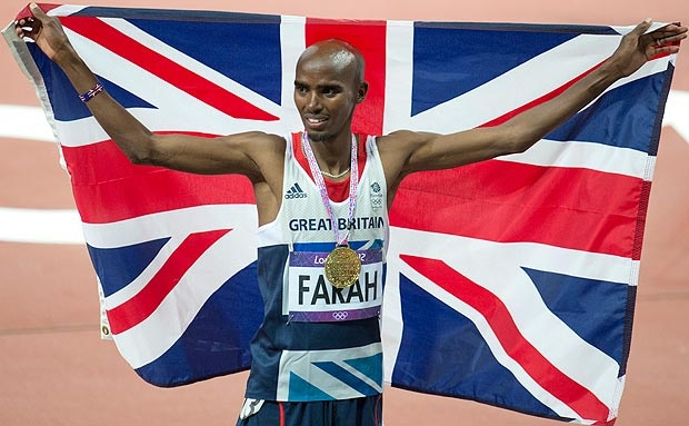 Olympic Games. Mo Farrah celebrates with a union jack and gold medal #mo #farrah