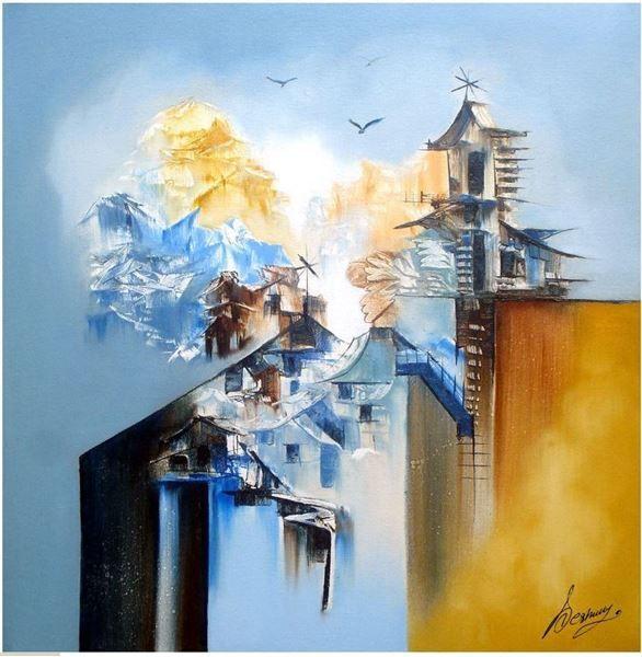 Sameer Deshmukh Original Hand-Painted Art Painting Online. Subject-Landscape-04, Surface-Canvas, Medium-Oil, landscape paintings, Shiva paintings, landscape canvas, Hand-Painted, Oil Painting,Artwork,Buy Painting Online, Paintings for office