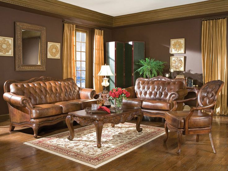 Alexander   Traditional Genuine Tufted Leather Sofa Couch Set   New Living  Room Part 71