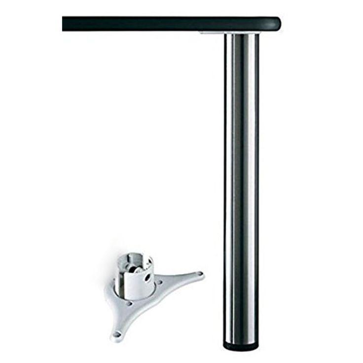 Tischbein Thekenfuß chrom poliert o. edelstahlfinish Durchmesser 8 cm Höhe 110 cm, individuell kürzbar zum Toppreis