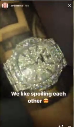We Like Spoiling Each Other  Amber Rose And Boyfriend 21 Savage Show Off Matching $55k Diamond Encrusted Wristwatches (Photos)