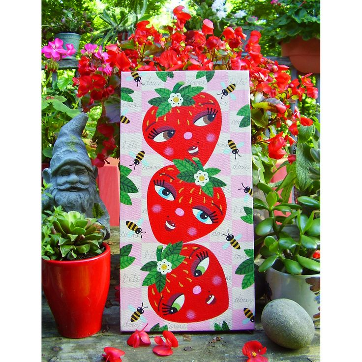 "For SALE !  ONE strawberry, TWO strawberries, THREE ...   6"" x 12"" ORIGINAL canvas painting by LuLu Mypinkturtle ...  Doux comme l'ÉTÉ ... Sweet as SUMMER ..."