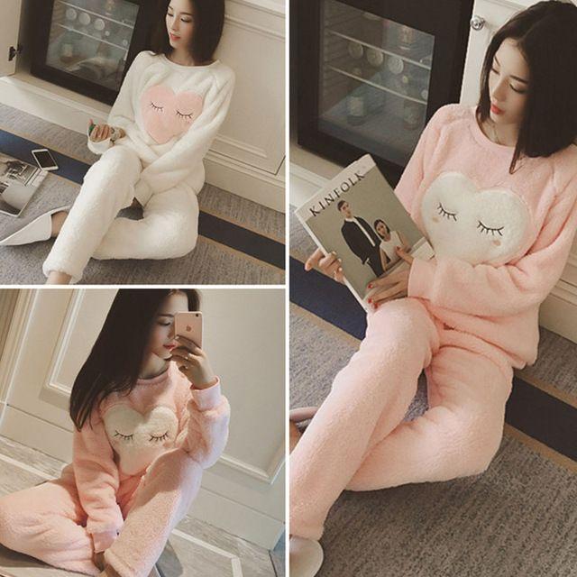 New Winter Autumn Women Pajama O-neck Sweatshirts+ Pants Sets Cartoon Warm Sleepwear Fleece Soft Sleep Suits Homewear Mujer #50