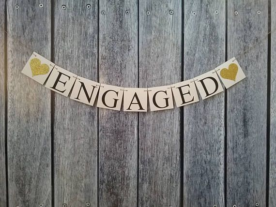 Engaged signs engagement banner bachelorette banner bridal