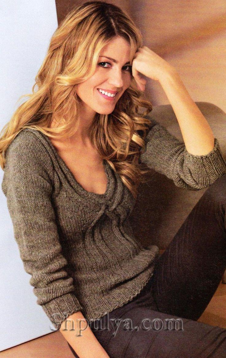 Пуловер из шерсти яка с V-образным вырезом