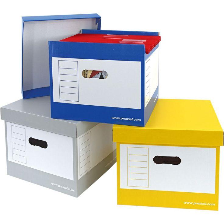 Pressel Archiefdoos A4 hangmappen, 296 x 335 x 305 mm, deksel, karton, geel