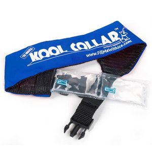 Cooling Dog Collar. Kool Collar is an extremely effective and unique dog cooling product. The Kool Collar protects your dog from the risk of heat exhaustion or heat stroke. Its patented technology uses ice to stimulate artificial sweat and promote evaporative cooling. Get yours today to keep your pup cool, comfortable, and safe!
