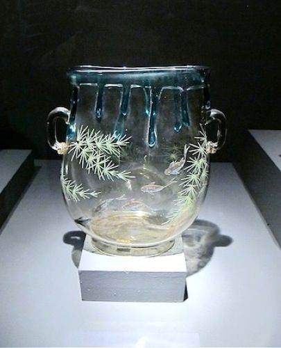 François-Eugène Rousseau, Vase with footed base, 1890. Glass