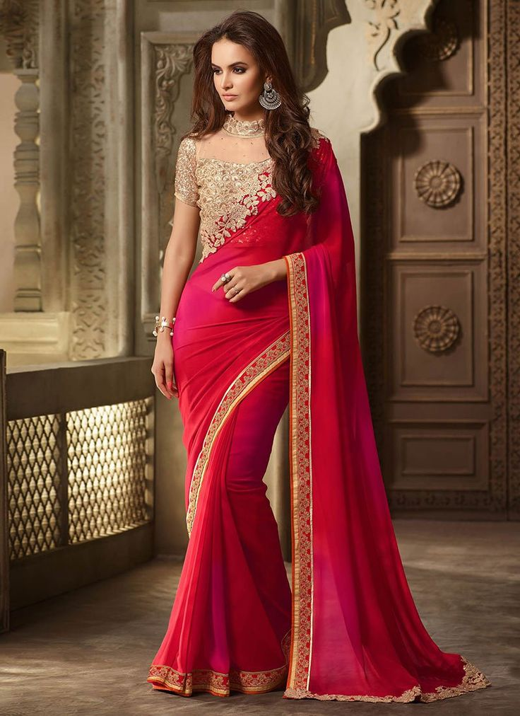 Buy Red N Magenta Ombre Georgette Border Saree online from the wide collection of Saree.  This Red,  Magenta  colored Saree in Faux Georgette  fabric goes well with any occasion. Shop online Designer Saree from cbazaar at the lowest price.