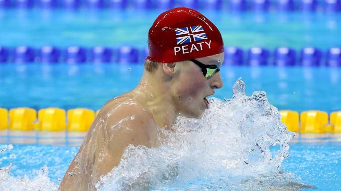 On the right wavelength: Great Britain's Adam Peaty was in blistering form in the 100m breaststroke heats, setting a new world record of 57.55sec