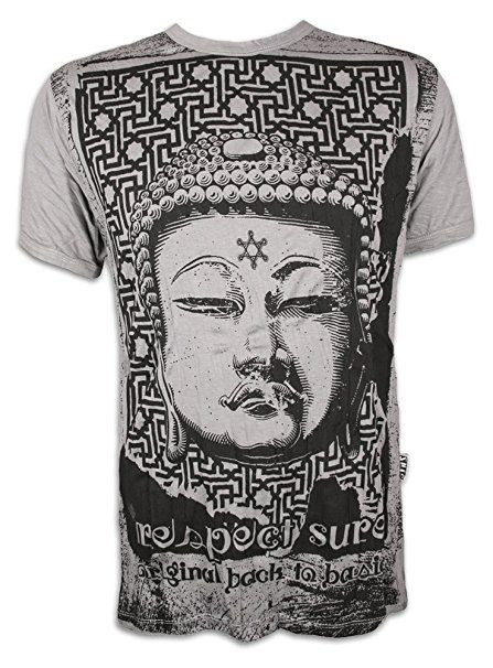 SURE Herren T-Shirt Buddha Sonnen-Symbol Buddhismus Mandala Nirvana Yoga Guru Goa Psy (Hellgrau M)