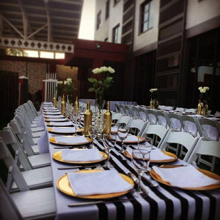 50th Birthday Dinner Gold, Back & White Setup. Wimbledon