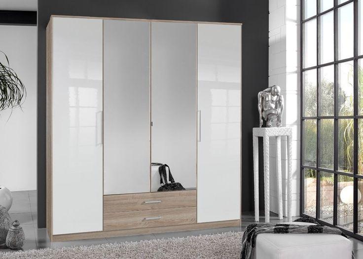 Kleiderschrank Hochglanz Weiß Eiche Sägerau 4912. Buy now at https://www.moebel-wohnbar.de/kleiderschrank-hochglanz-weiss-eiche-saegerau-4912