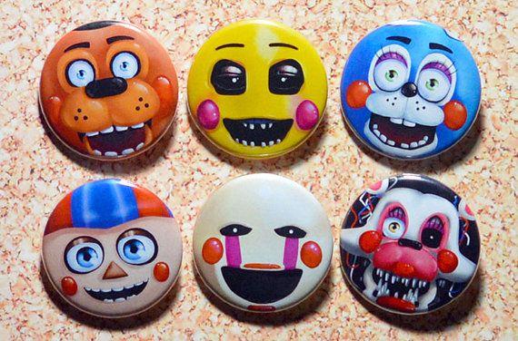 Cinco noches en el Set de 2 botón de Freddy - Freddy de juguete, juguete Chica, juguete Bonnie, globo chico (BB), títeres (marionetas) y Mangle - FNAF 2