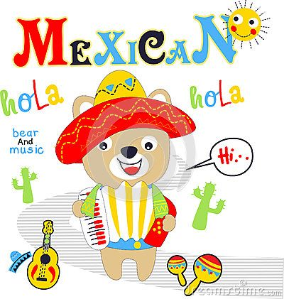 Bear mexican playing music vector clip art cartoon