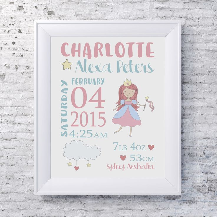 MAGICAL FAIRY Birth Stats Print / Kids Room Decor/ Kids Wall Art / Nursery Wall Art / Personalised Prints by groovygoose on Etsy