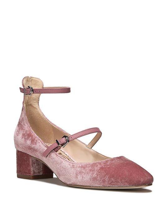 Sam Edelman Lulie Velvet Ankle Strap Mary Jane Pumps