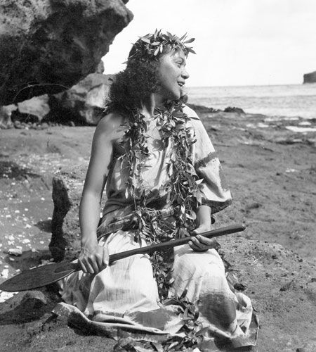 Iolani Luahine in a 1948 photo. She was one of Hawai'i's most revered kumu hula and cultural practitioners,