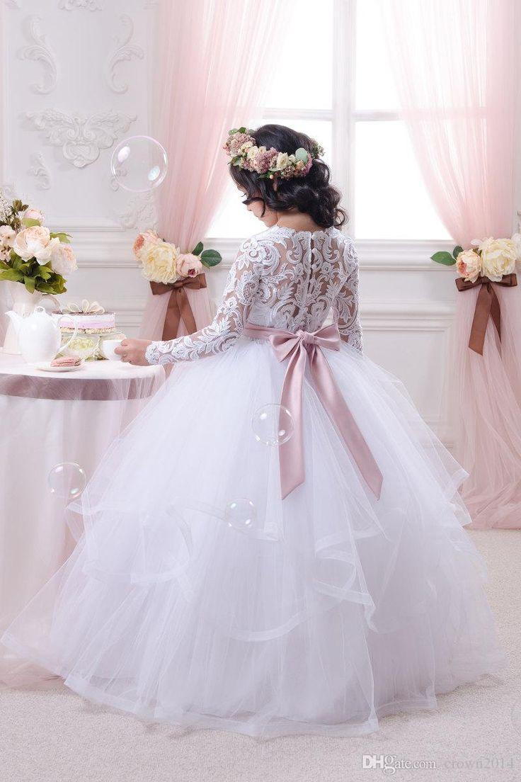 Vestidos de encaje de niñas de flores Vestido de fiesta de princesa chica con cinturones de color rosa Vestidos de fiesta de primera comunión Tulle Tiered manga larga de Tulle