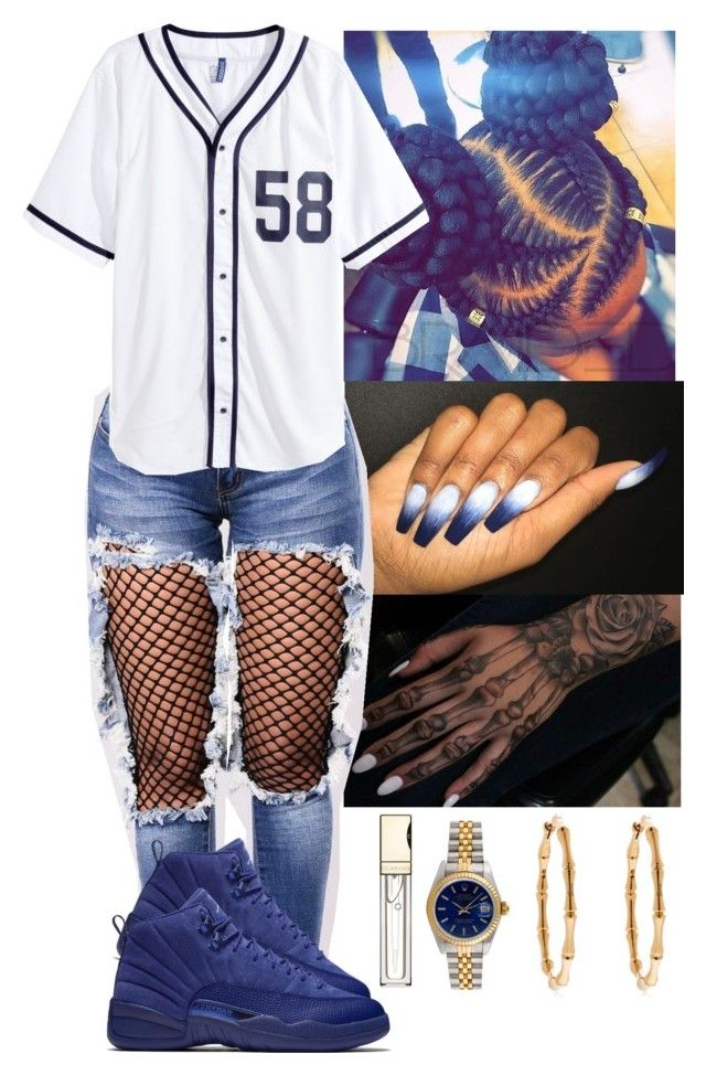 """""""Baseball ⚾️"""" by flawlessgirlty on Polyvore featuring Gucci, Rolex, Clarins and H&M"""