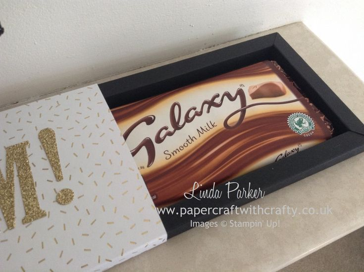 Galaxy Chocolate Bar Shadow Box.  Large Letters Die Stampin Up. Linda Parker - Papercraft With Crafty