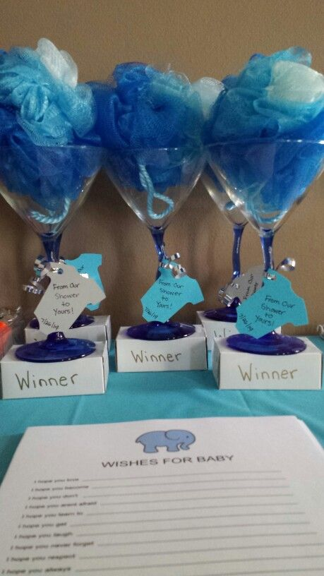Baby shower game prizes.. Loofah in a martini glass, set on top of a travel size soap bar.