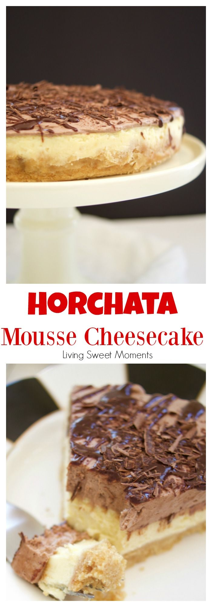 This Horchata Mousse Cheesecake recipe is easy to make, creamy and delicious. It has a Cookie crust, horchata cheesecake, horchata-choco mousse, & ganache. #ad