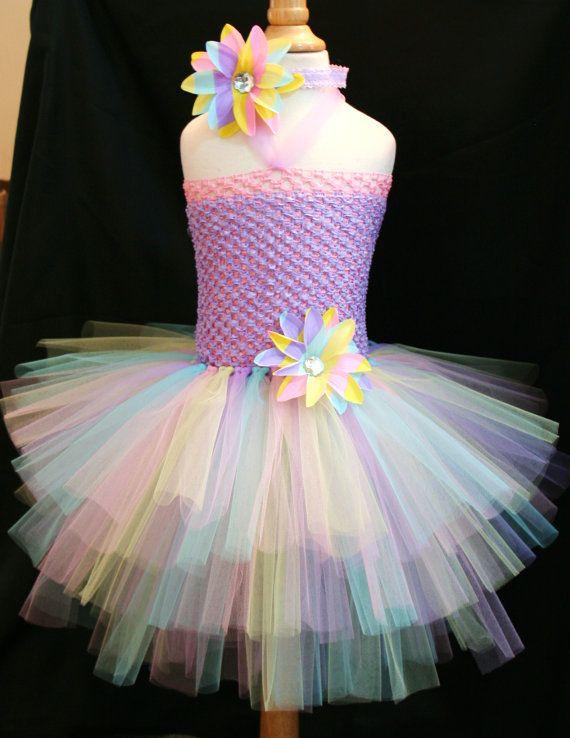 Baby girls Easter pastel tutu dress with headband set - Infant to Girls 8 on Etsy, $37.95