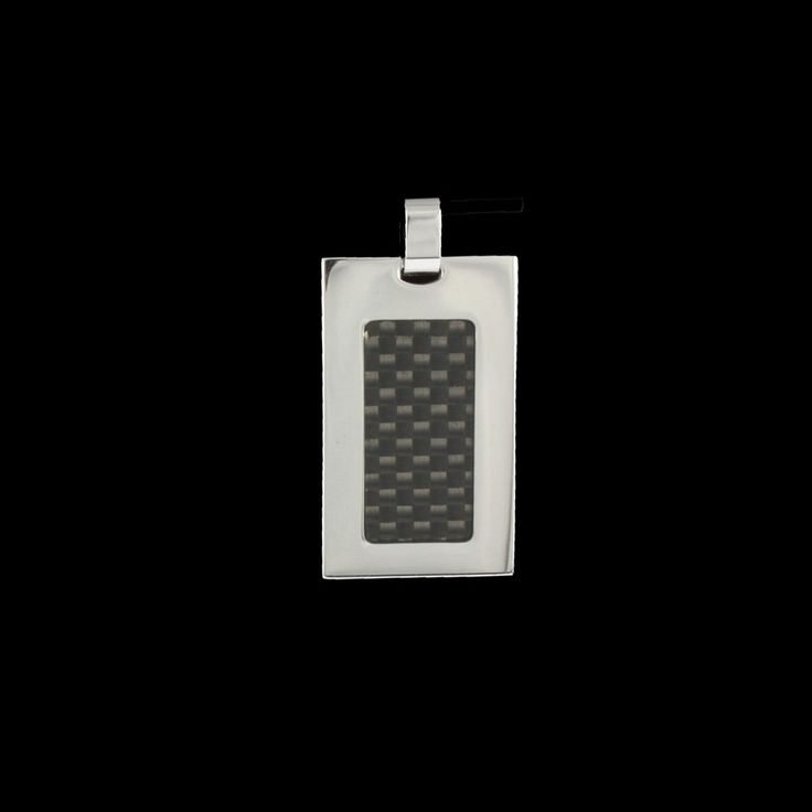 Pingente Steel Placa c/ Fibra de Carbono