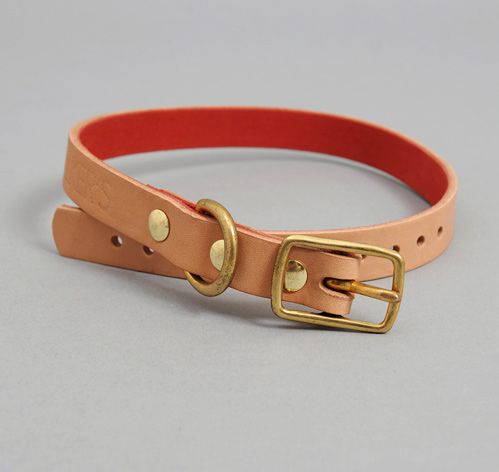 LEATHER DOG COLLAR, NATURAL :: HICKOREE'S
