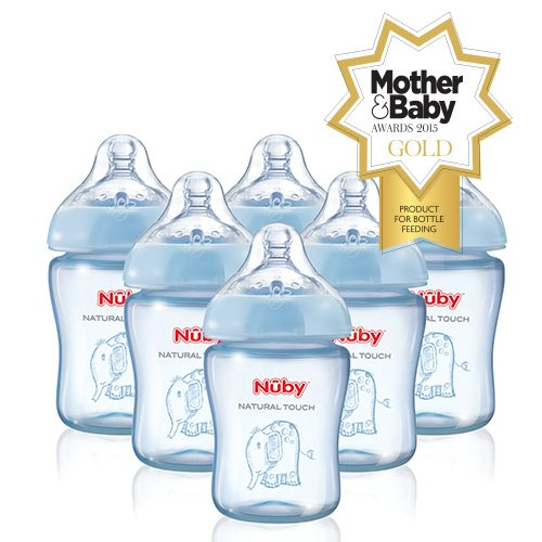 Nuby Natural Touch award winning baby feeding bottles in blue