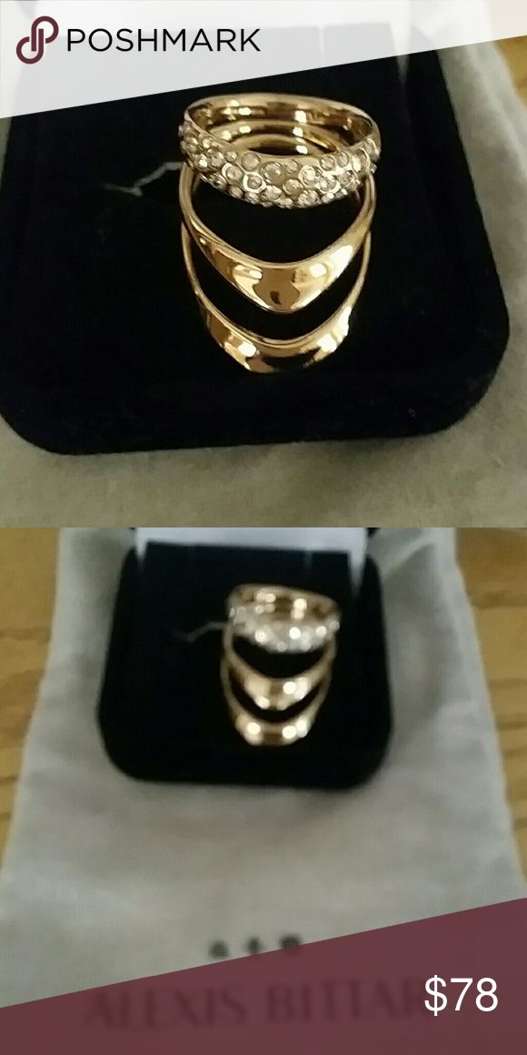 Alexis bittar ring. New never worn Pretty statement ring. New design. Gold and crystal.  I got this as a gift. It only fits on my pinky. I assume it's a 6, since I wear a 7. OBO Alexis Bittar Jewelry Rings