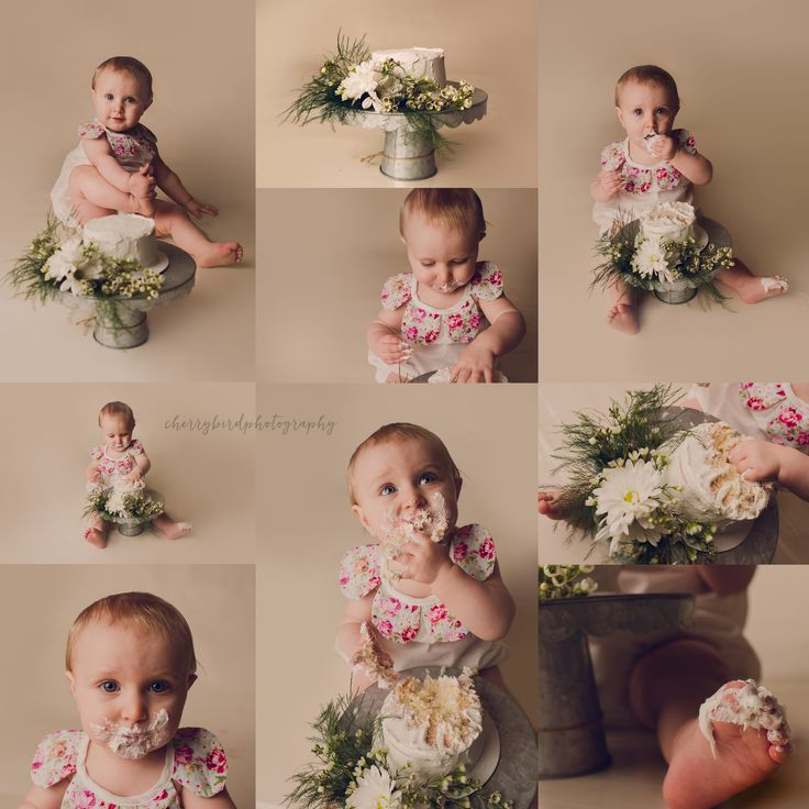 Cake smash / flowers / floral cake / one year old / first birthday / girl / neutral / baby photography