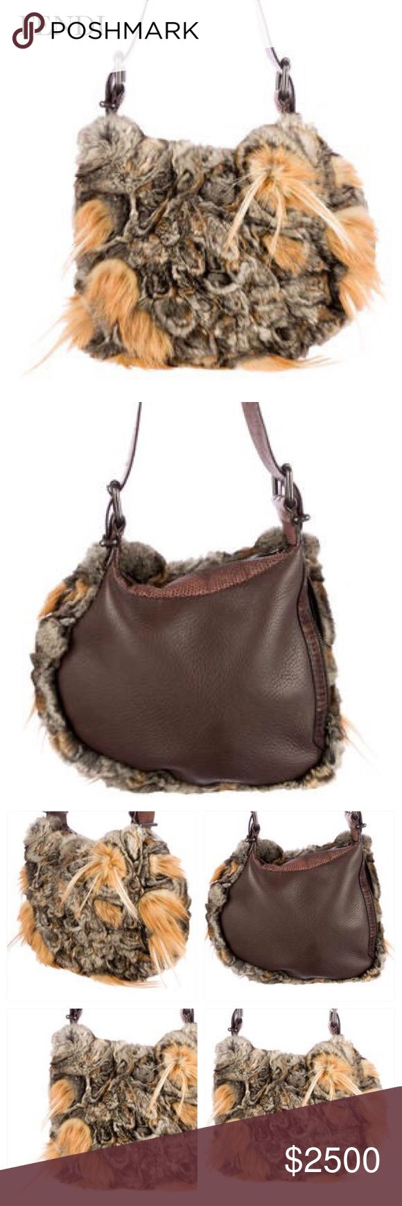 "FENDI CREAM & TAN FUR BAG Fendi bag with fox fur accents, top handle & zipper closure. Hardware: gunmetal-tone. Lining: Satin. Color: Black and light brown chinchilla. Very minimal light wear at corners. Fabulous Bag! Approx Measurements: Shoulder Strap Drop 11"", Height 9"", Width 10"", Depth .25"". Condition: Excellent. Sold Out. Rare & Beautiful Fendi Bags"