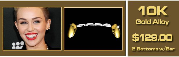 Buy a Gold Grill like Miley Cyrus's Gold Teeth - 2 Bottoms with a bar in 10K Gold Alloy, $129